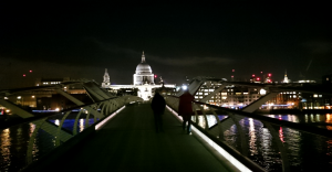 Laney and attente walking on the Millennium Bridge after we walked the distance between Red Hat and Canonical's offices.